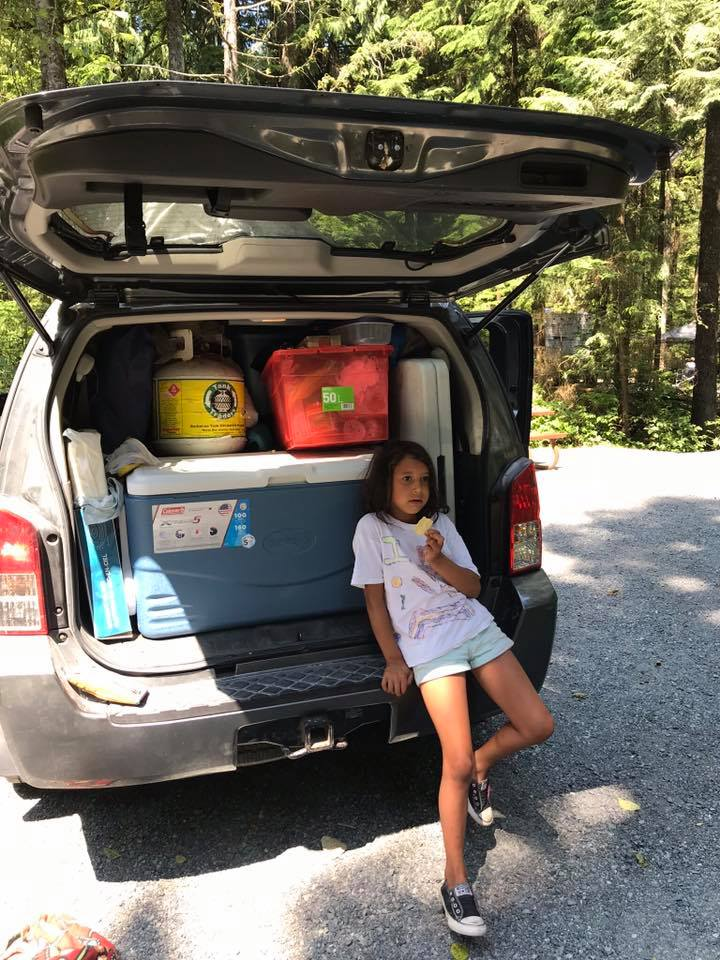 being organized while camping with kids