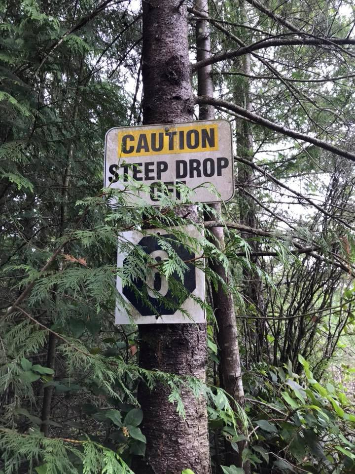 Steep drop off on Stave Dam Interpretation Trail