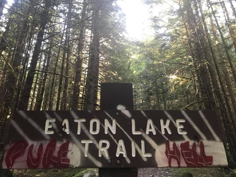 eaton lake trailhead sign