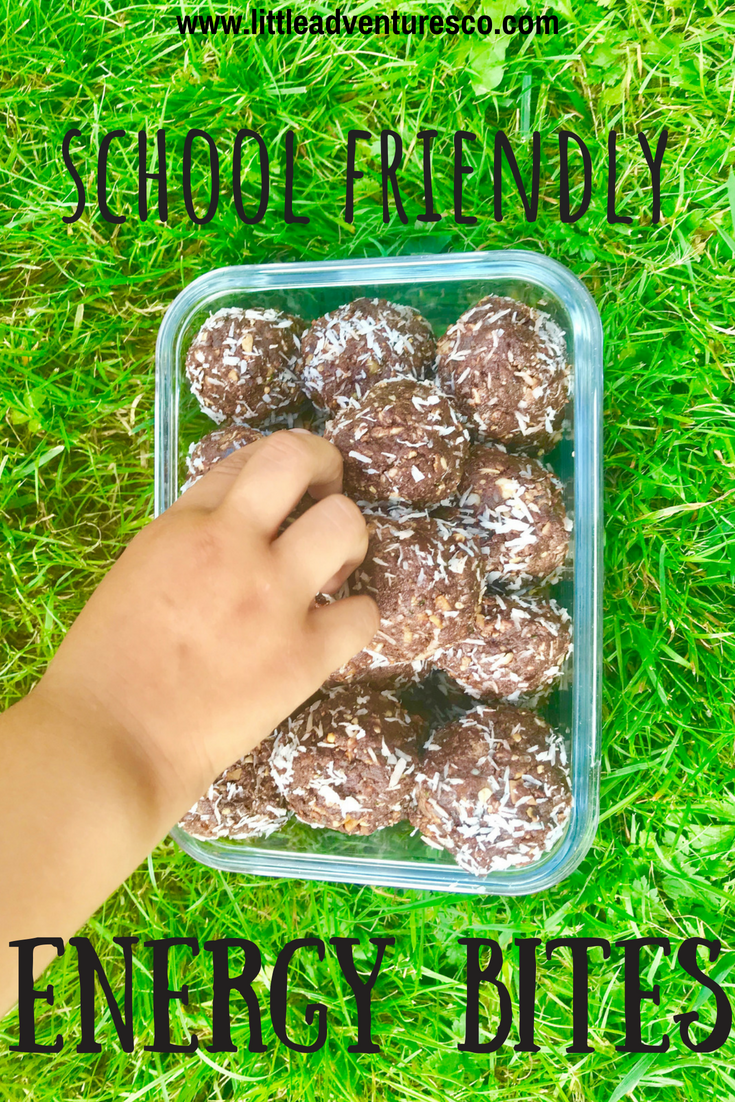 If your child's school is a Nut Free zone these school friendly energy bites are your answer for a delicious snack your kids will love!