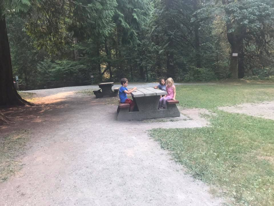 picnic tables at cliff falls