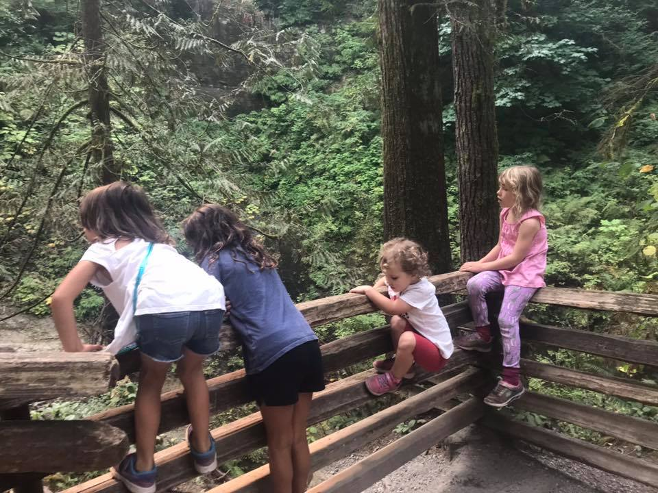 kids viewing cliff falls
