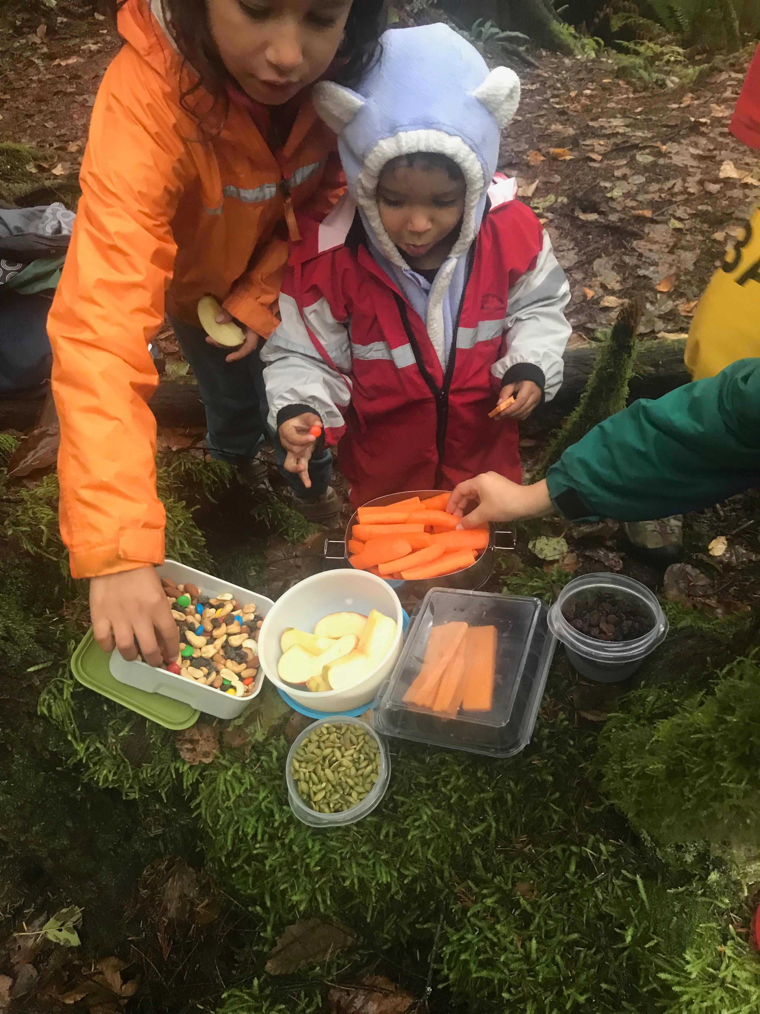 snacks when hiking with kids